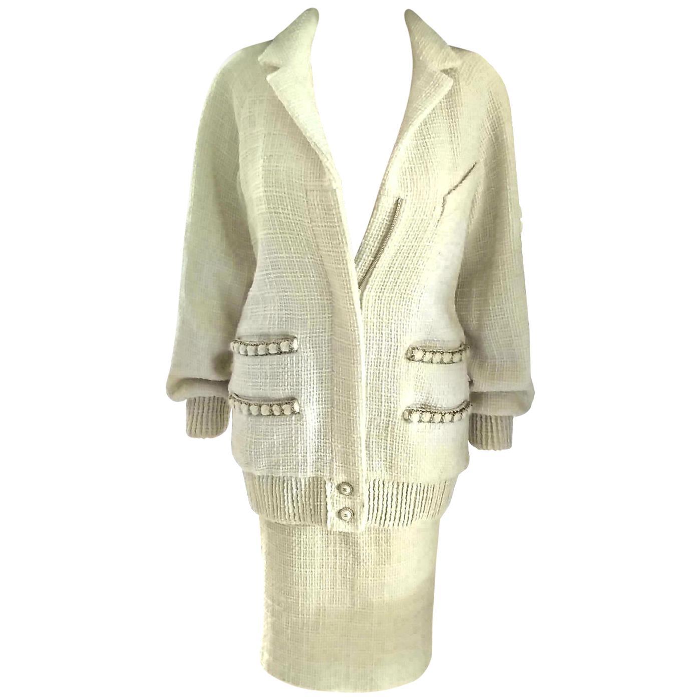 Chanel 2020 20C Ecru, Gold, Pearl CC Tweed Jacket Skirt Suit FR 36 US 4 6