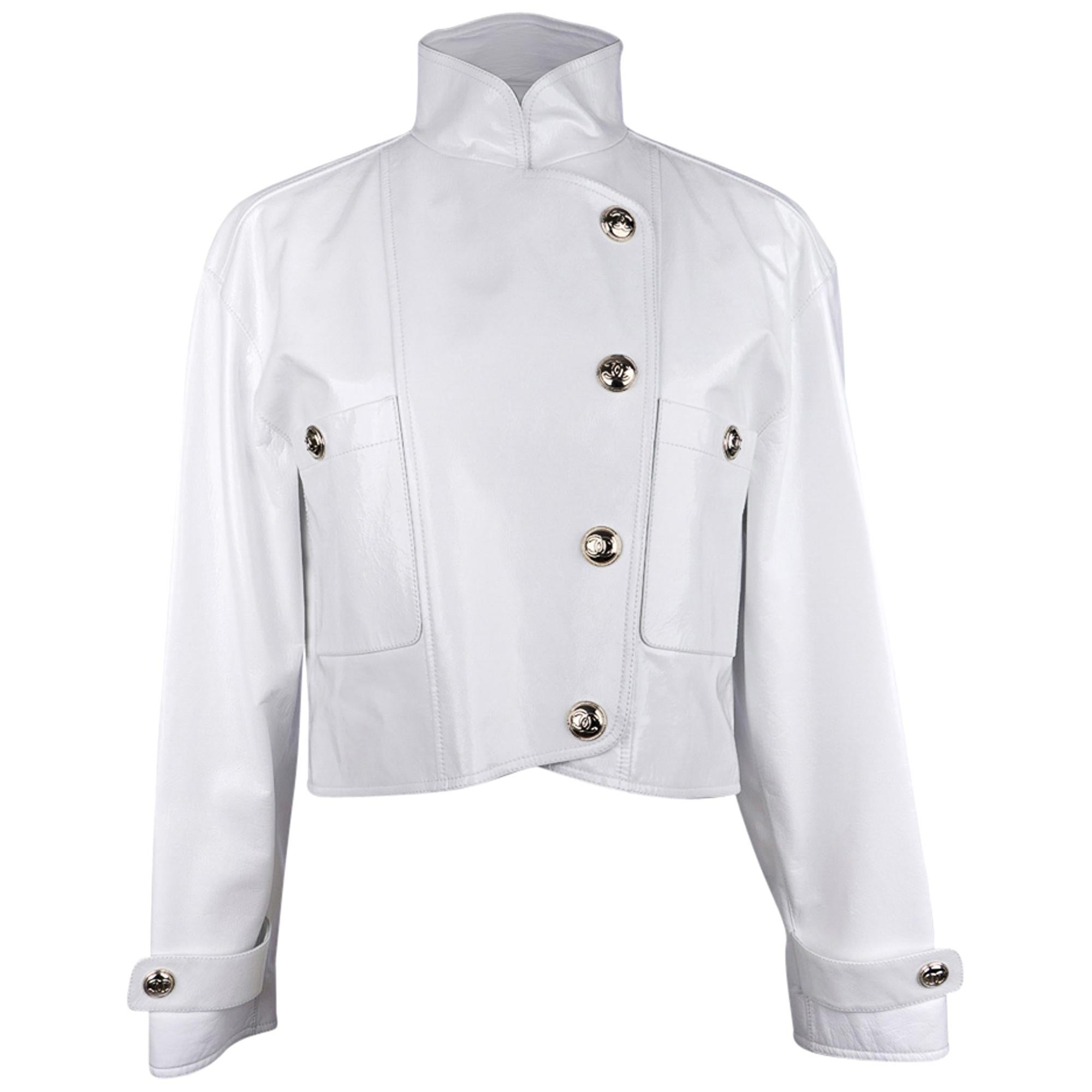 Chanel 2020-21FW Jacket White Patent Leather Short Biker Style 36 / 4 New w/Tags