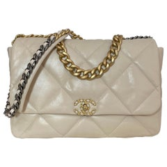 Chanel 2020 Beige Goatskin Leather Quilted Maxi 19 Flap Bag