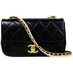 Chanel 2020 Black Calfskin Crystal Pearls Small Mini Flap Crossbody Bag w/ TAGS