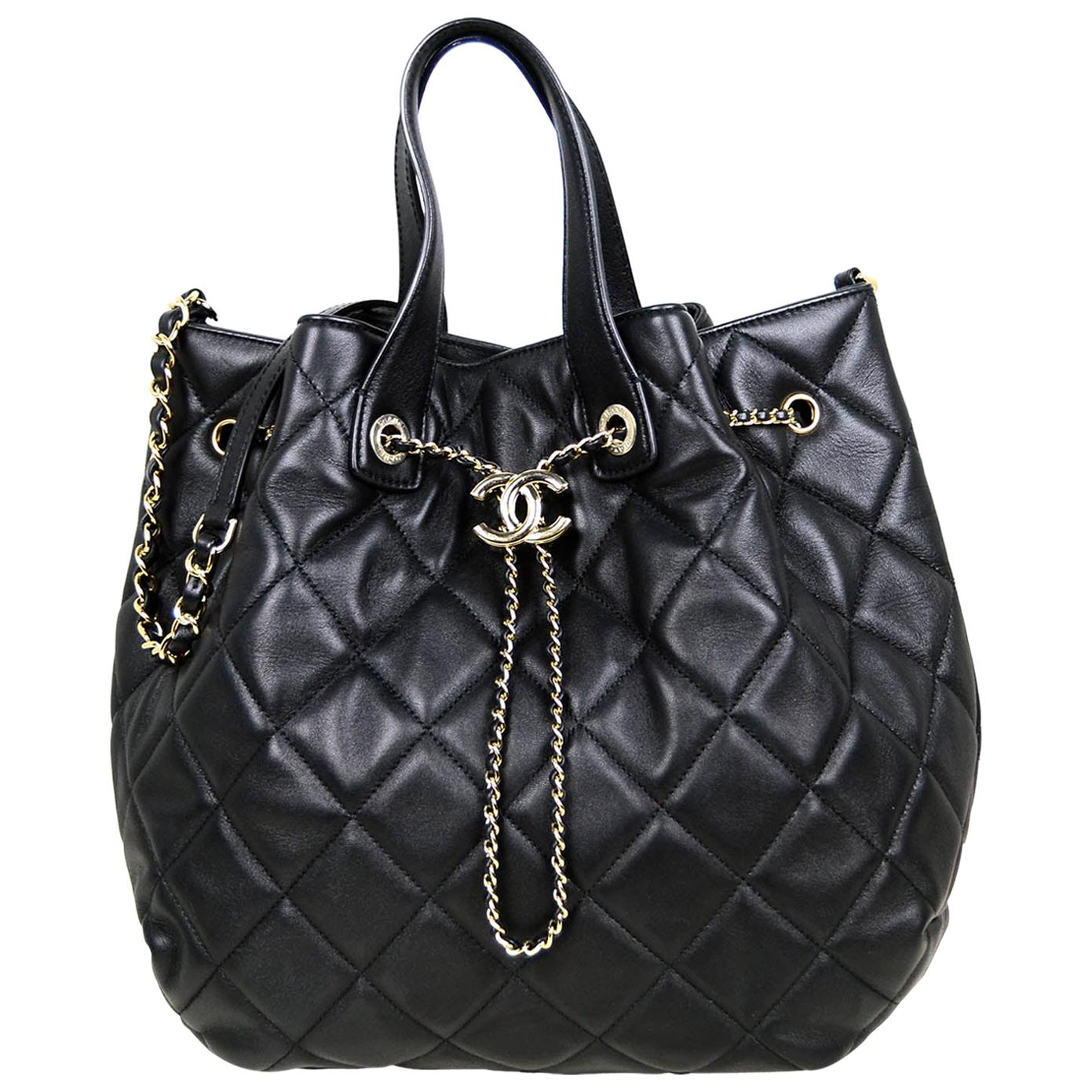 Chanel 2020 Black Lambskin Quilted CC Dweller Drawstring Bucket Tote Bag