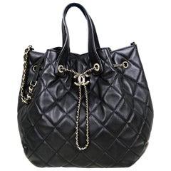 Chanel 2020 Black Lambskin Quilted CC Dweller Drawstring Bucket Tote Bag