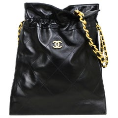 Chanel 2020 Black Shiny Lambskin Leather Chain Drawstring Quilted Tote Bag