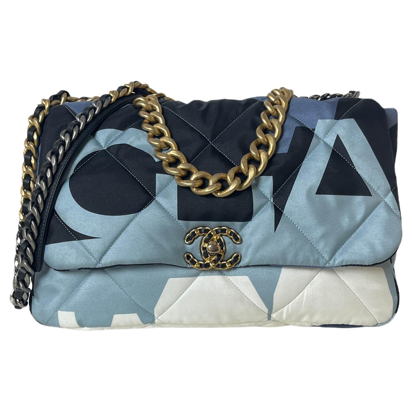 Chanel 2020 Blue/White/Black Nylon Maxi Scarf Chanel 19 Flap Bag