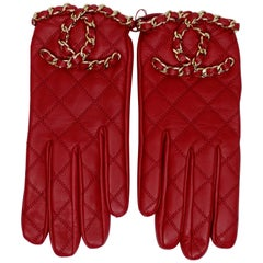 Chanel 2020 Red CC Gloves
