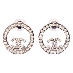CHANEL 2020 silver tone RHINESTONE CC RING Earrings
