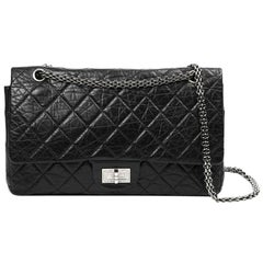 CHANEL 2.55 Aged Black Leather Bag