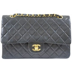Chanel 2.55 black leather shoulder bag