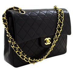 """CHANEL 2.55 Double Flap 10"""" Chain Shoulder Bag Black Quilted Lamb Leather"""