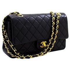 "CHANEL 2.55 Double Flap 10"" Chain Shoulder Bag Lambskin Black"