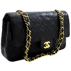 "CHANEL 2.55 Double Flap 10"" Chain Shoulder Bag Lambskin Black"