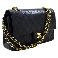 "CHANEL 2.55 Double Flap 10"" Chain Shoulder Bag Lambskin Black Leather"