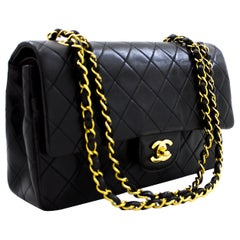 "CHANEL 2.55 Double Flap 10"" Chain Shoulder Bag Lambskin Black Leather"