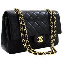 """CHANEL 2.55 Double Flap 10"""" Classic Chain Shoulder Bag Black"""