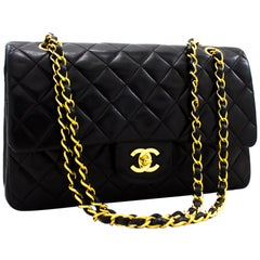 "CHANEL 2.55 Double Flap 10"" Classic Chain Shoulder Bag Black"