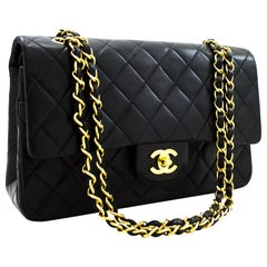 "CHANEL 2.55 Double Flap 10"" Classic Chain Shoulder Bag Black Lamb"