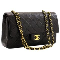 """CHANEL 2.55 Double Flap 10"""" Classic Chain Shoulder Bag Black Purse"""