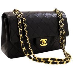 "CHANEL 2.55 Double Flap 9"" Chain Shoulder Bag Black Purse Lambskin"