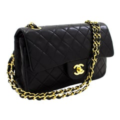 """CHANEL 2.55 Double Flap 9"""" Chain Shoulder Bag Black Quilted Lamb Leather"""