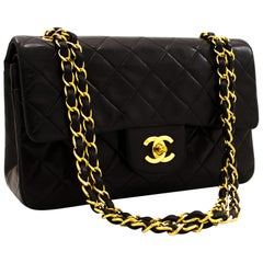 "CHANEL 2.55 Double Flap 9"" Chain Shoulder Bag Lambskin Black"