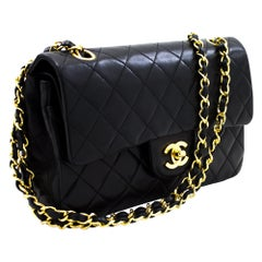 "CHANEL 2.55 Double Flap 9"" Chain Shoulder Bag Lambskin Black Leather"