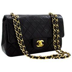 """CHANEL 2.55 Double Flap 9"""" Classic Chain Shoulder Bag Black Lamb"""