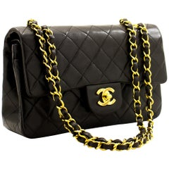 "CHANEL 2.55 Double Flap 9"" Classic Chain Shoulder Bag Black Purse"