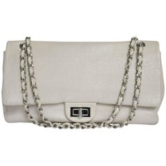 Chanel 2.55 Double Flap Bag in Cream Leather