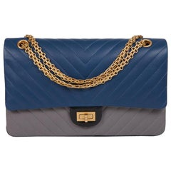 CHANEL 2.55 Double Flap Chevron Bag in Tricolor Blue, Gray and Black Leather