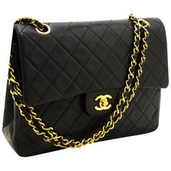 CHANEL 2.55 Double Flap Medium Chain Shoulder Bag Black Quilted