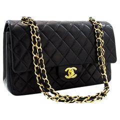 CHANEL 2.55 Double Flap Medium Chain Shoulder Bag Lambskin Black