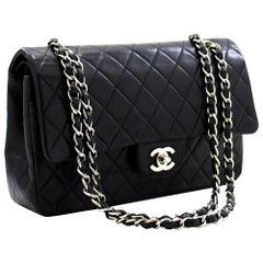CHANEL 2.55 Double Flap Medium Silver Chain Shoulder Bag Black