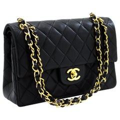 CHANEL 2.55 Double Flap Small Chain Shoulder Bag Black Quilted Leather