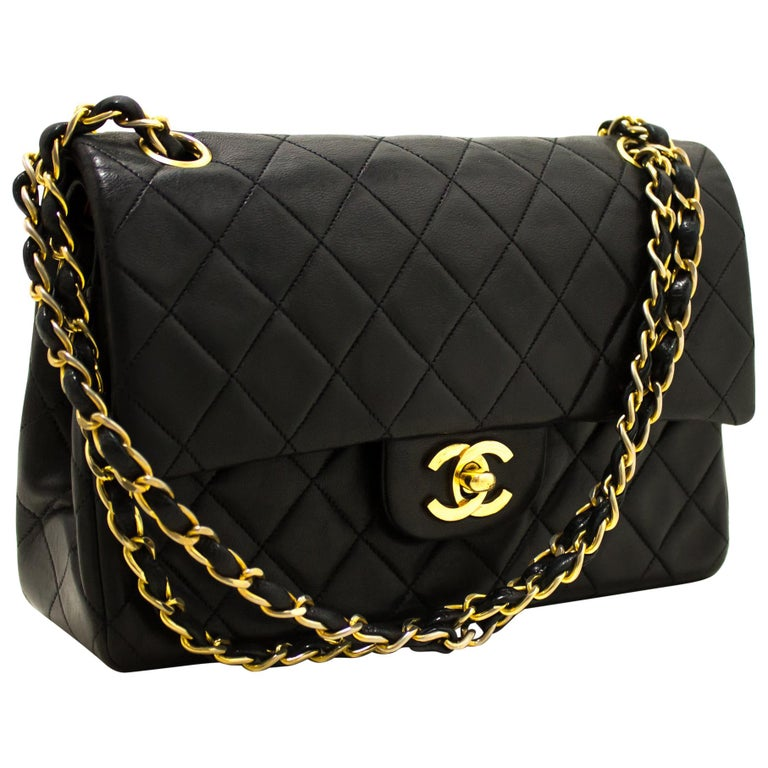 0c3aaa6b24c0 CHANEL 2.55 Double Flap Small Chain Shoulder Bag Lambskin Black For Sale