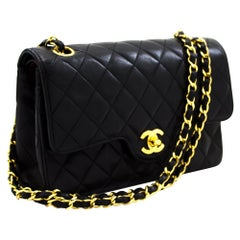 CHANEL 2.55 Double Flap Small Chain Shoulder Bag Lambskin Black Leather