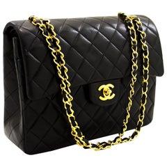 CHANEL 2.55 Double Flap Square Chain Shoulder Bag Lambskin Black