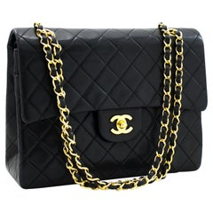 CHANEL 2.55 Double Flap Square Classic Chain Shoulder Bag Black
