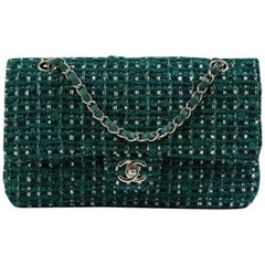 Chanel 2.55 green tweed shoulder bag