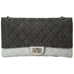 Chanel 2.55 Grey Reissue Canvas Denim Classic Double Flap Maxi Limited Edition