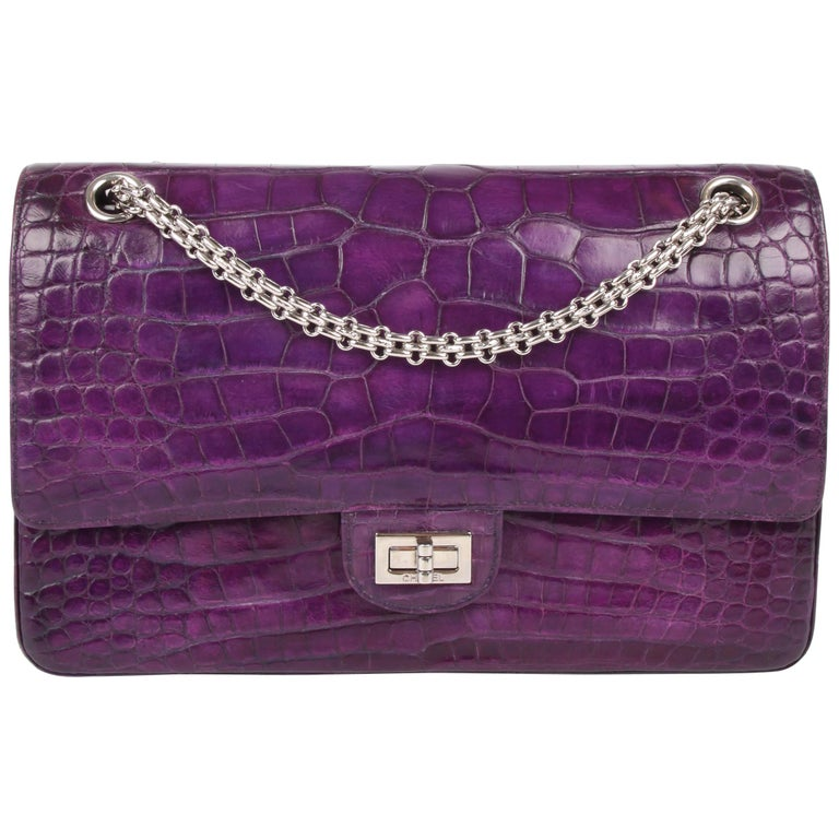 607ca8b623852f Chanel 2.55 Medium Double Flap Bag Crocodile Leather - purple For Sale