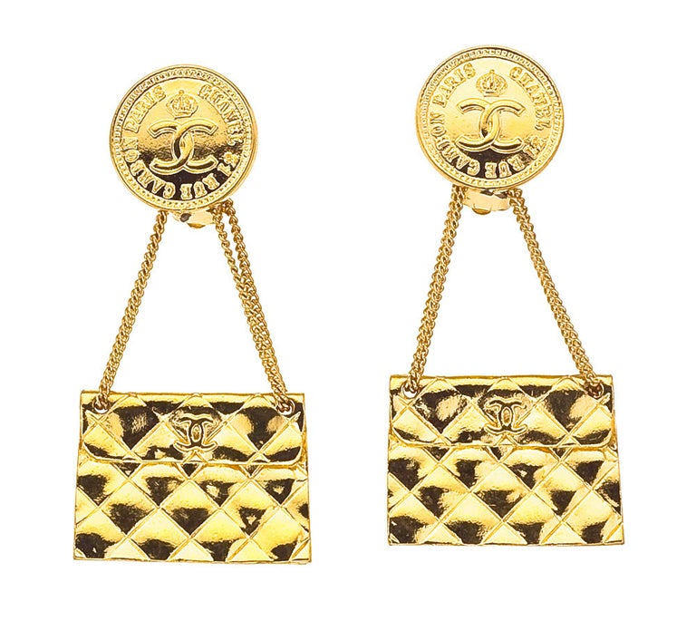 Chanel 2.55 quilted bag motif earrings. Signed Chanel 2 6 Made in France.