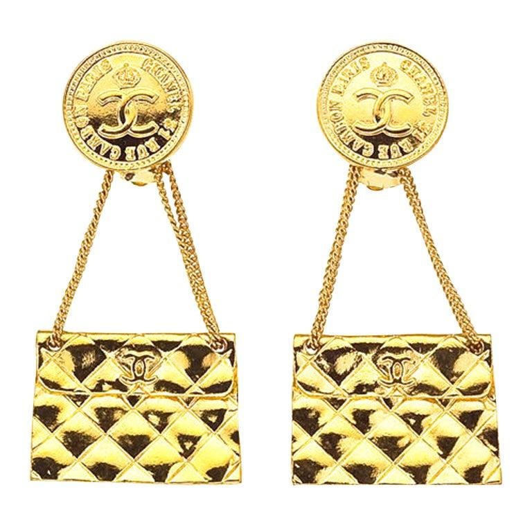 Chanel 2.55 Quilted Bag Earrings For Sale