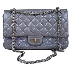 Chanel  2.55 Reissue 225 Double Flap Metallic Grey Leather Shoulder Bag