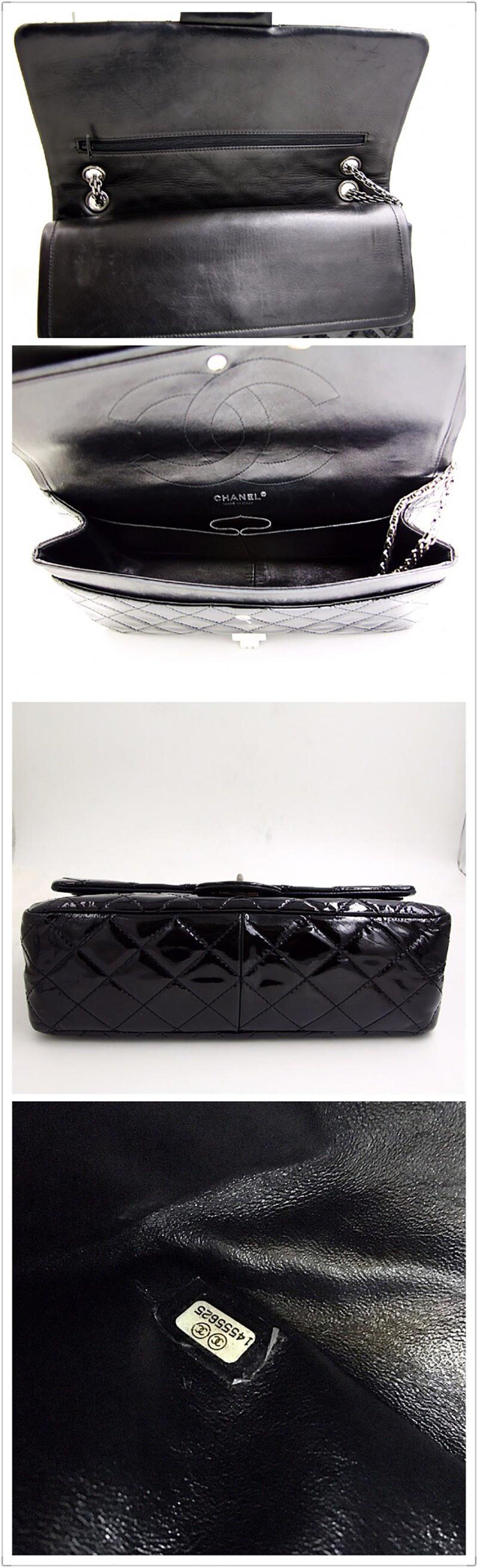 de3596d40c917b Chanel 2.55 Reissue 227 Black Patent Leather Shoulder Bag For Sale at  1stdibs