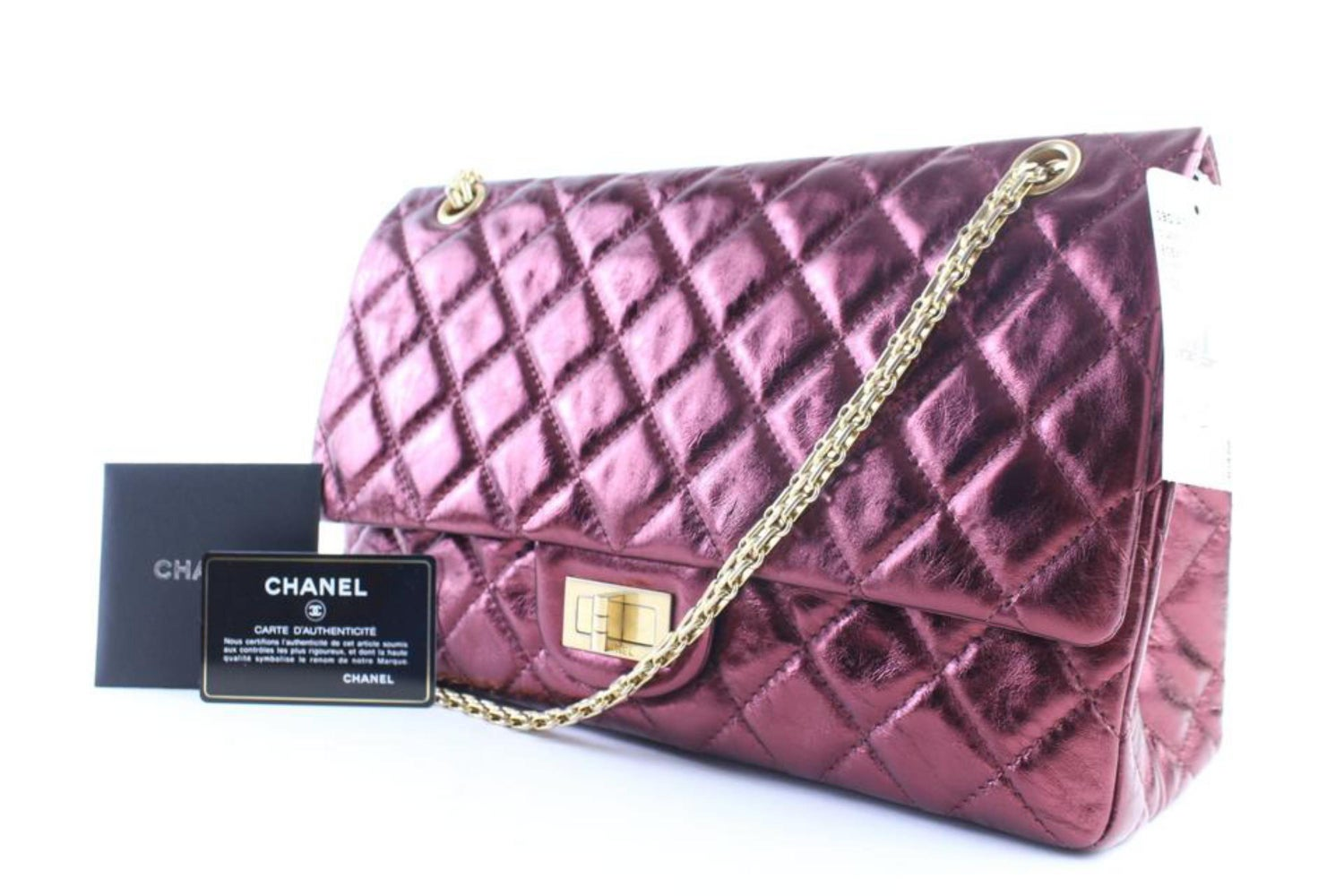 683a3ea89cf3 Chanel 2.55 Reissue 227 Flap 11cr0522 Metallic Burgundy Quilted Shoulder Bag  For Sale at 1stdibs