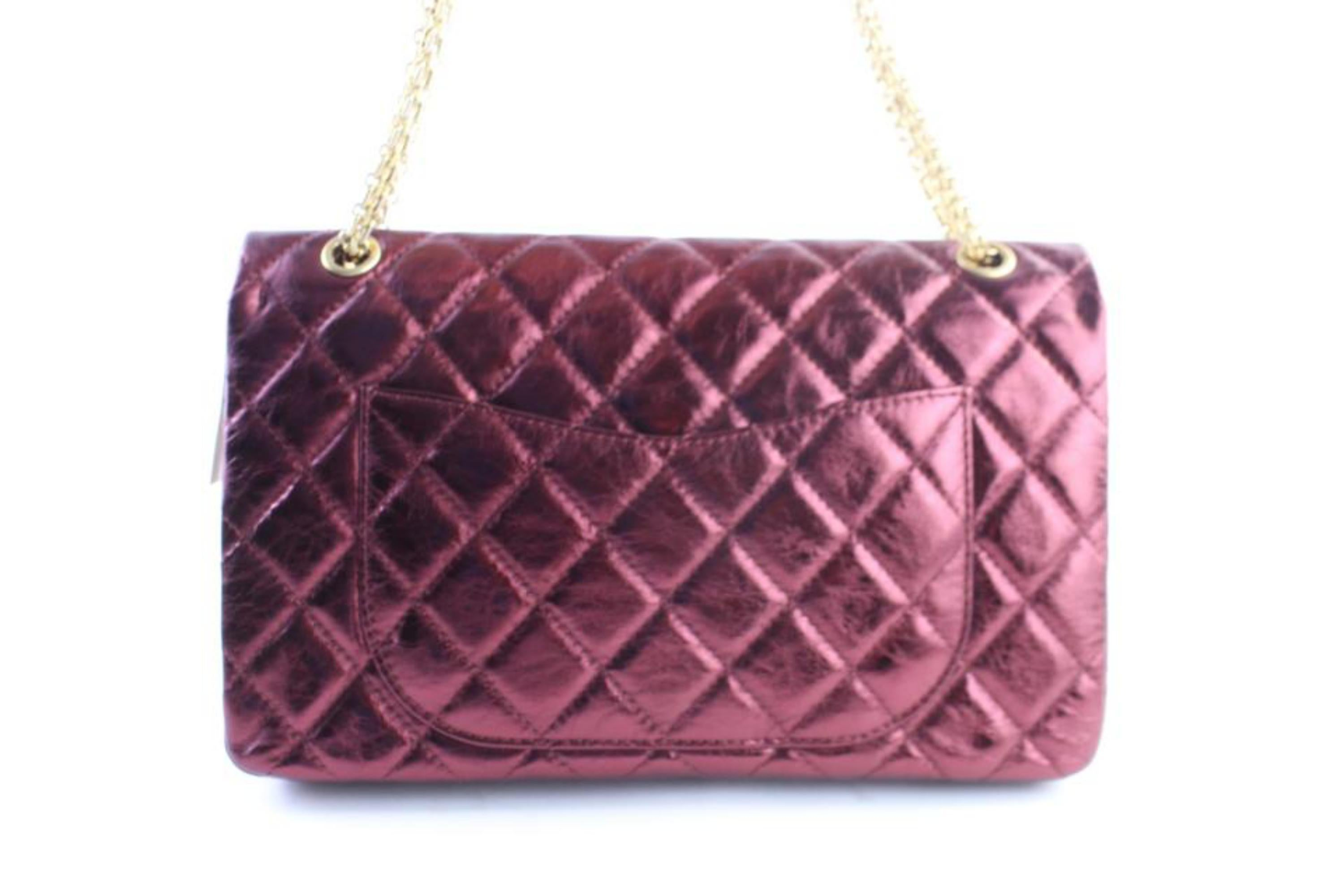 c17884cfd489b6 Chanel 2.55 Reissue 227 Flap 11cr0522 Metallic Burgundy Quilted Shoulder Bag  For Sale at 1stdibs