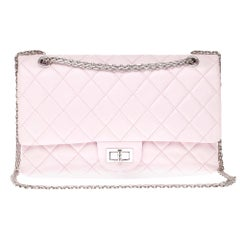 Chanel 2.55 Reissue 227 handbag in pink quilted leather and silver hardware