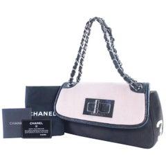 Chanel 2.55 Reissue Bicolor 13cr0606 Pink X Black Canvas Shoulder Bag