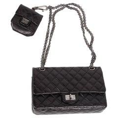 Chanel 2.55 Reissue Double Flap Bag with Mini Pochette - black