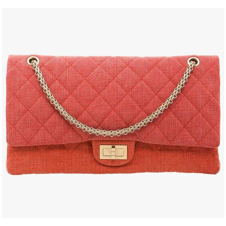 Chanel Vintage Timeless Orange Pink Quilted-Canvas Shoulder Bag  Orange, red and pink 2009 pre-owned Timeless quilted-canvas shoulder bag from Chanel Pre-Owned featuring a gold-tone chain shoulder strap, internal slip pockets, fold-over top with